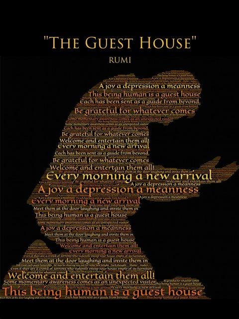 Rumi the guest house gratitude, computer communication.