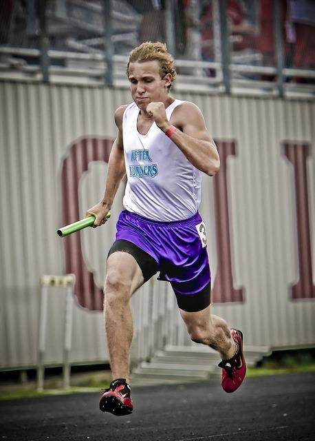 Runner track athlete relay race, sports.