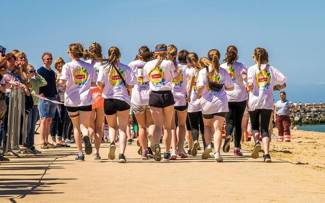 Running runners beach, travel vacation.
