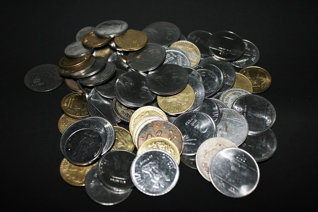 Rupees money coins, business finance.