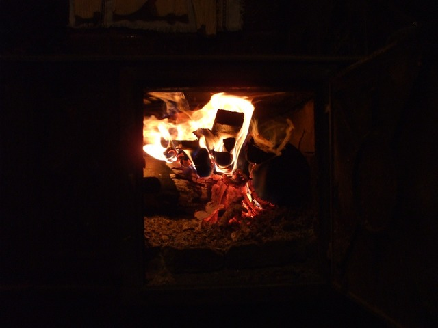 Rural fireplace fireplace fire.