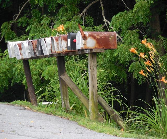 Rural mailbox mail, transportation traffic.
