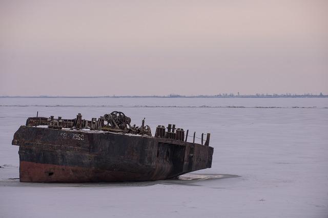 Rusty ship boat volga.