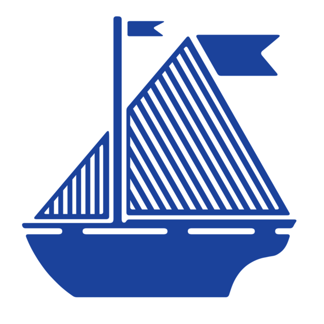 Sail boat flag blue, travel vacation.