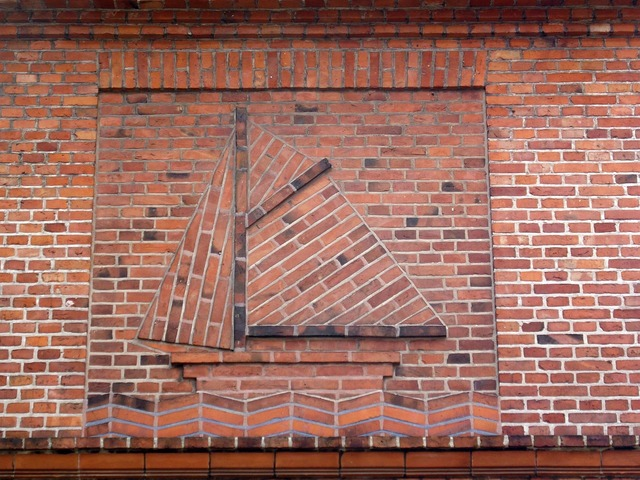 Sailing boat wall brick, architecture buildings.