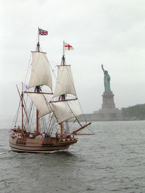 Sailing-ship sailing ship sailing, architecture buildings.