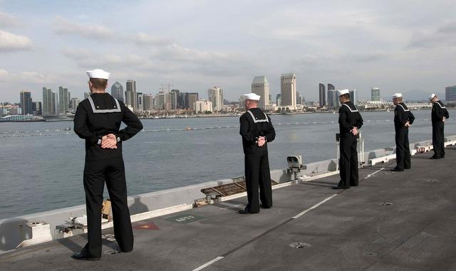 Sailors ship parade rest.