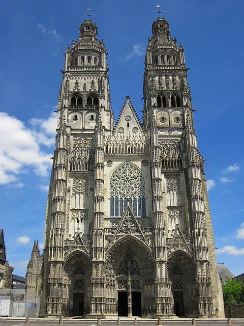 Saint gatien cathedral gothic tours, architecture buildings.