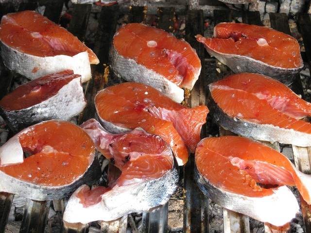 Salmon raw grilled, food drink.