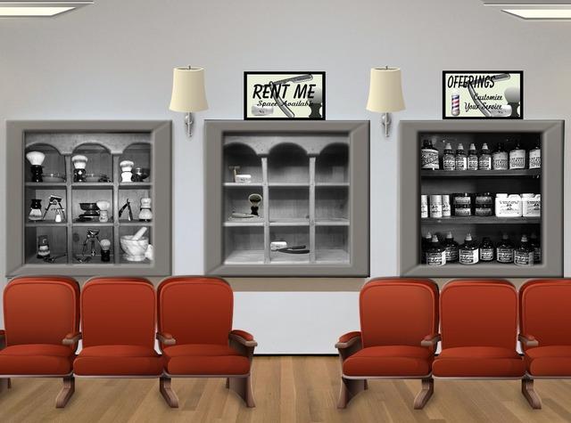 Salon barber waiting room, business finance.