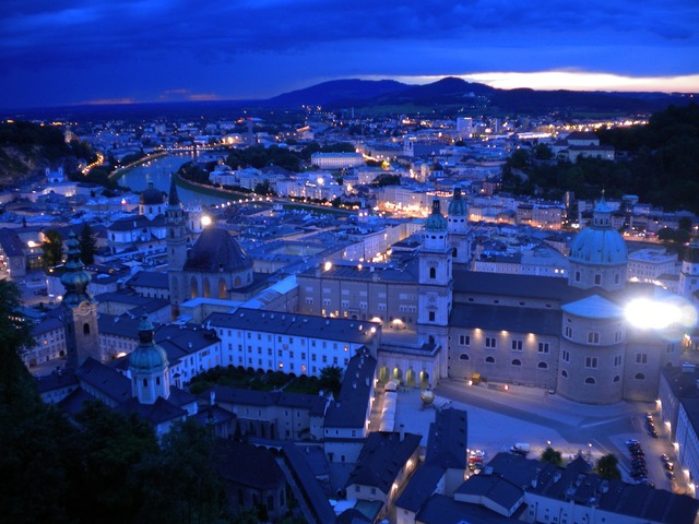 Salzburg night austria, travel vacation.