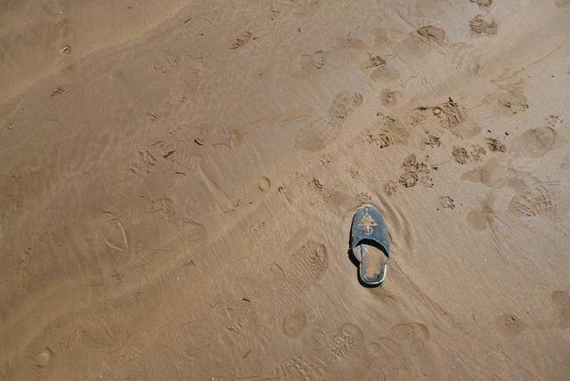 Sand beach footprint, travel vacation.