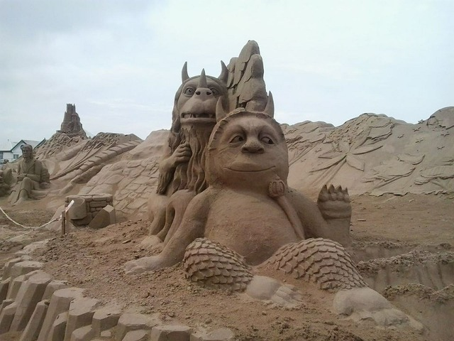 Sand sculpture exhibition, travel vacation.