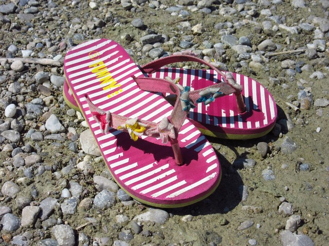 Sandal colorful shoes, travel vacation.