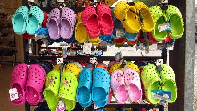 Sandals colorful plastic, business finance.