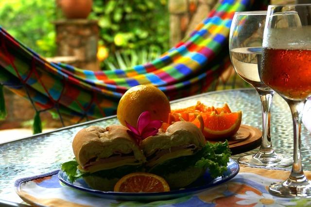 Sandwich colorful fruit, food drink.