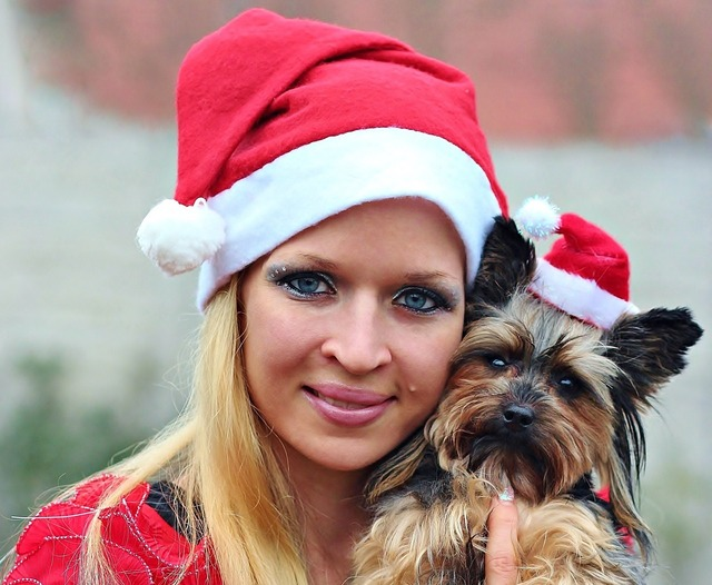 Santa claus dog woman, animals.