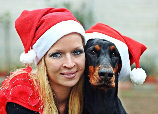 Santa claus woman doberman, beauty fashion.