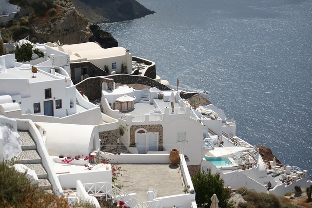 Santorini terraces building, architecture buildings.