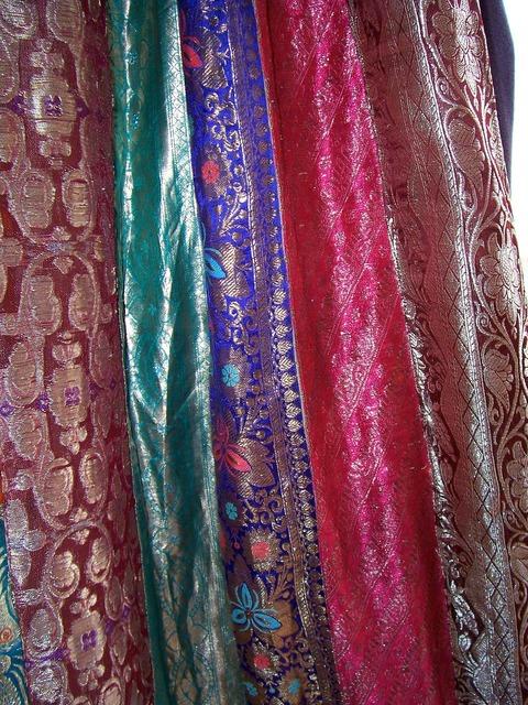 Sari fabric drapes.