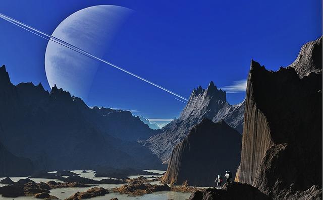 Saturn landscape mountains, nature landscapes.