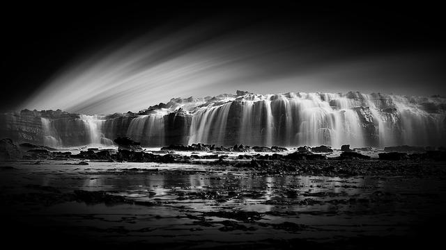 Sawarna cave waterfalls illusion.
