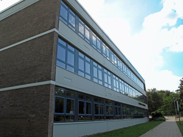 School hdr building, education.