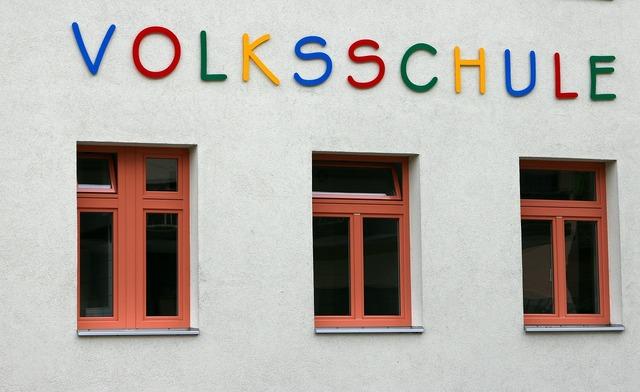 School window facade, education.