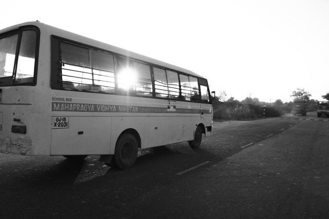 Schoolbus india road, transportation traffic.