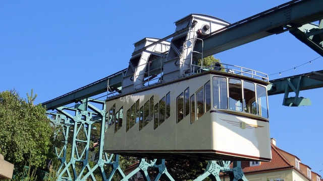 Schwebebahn historically protected monument, transportation traffic.