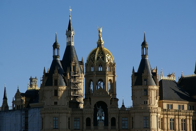 Schwerin castle germany, architecture buildings.