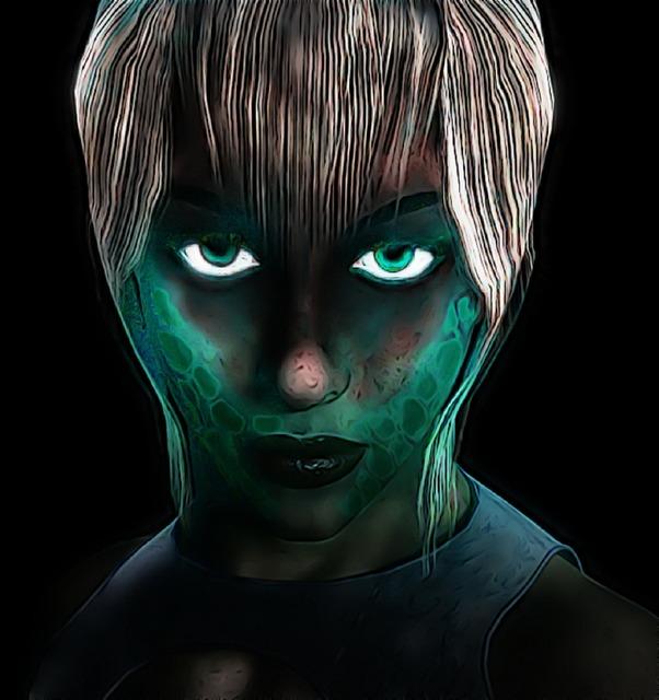 Sci-fi woman glow, beauty fashion.