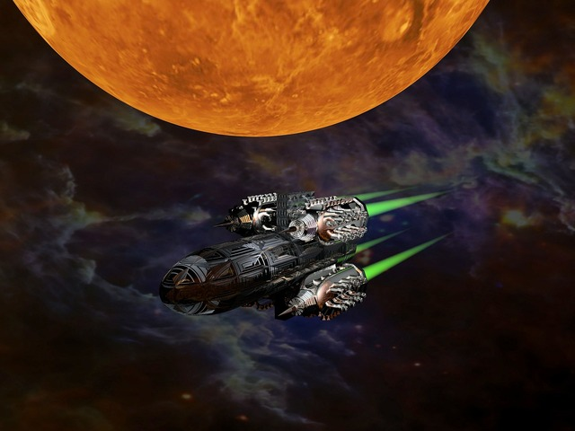 Science fiction space ship rocket.