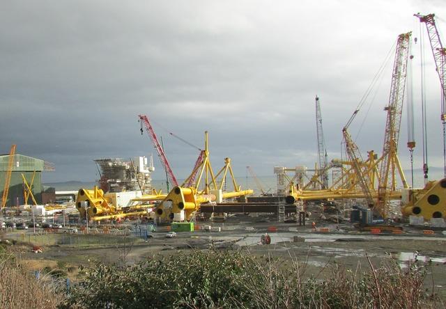Scotland shipyard wind turbine.
