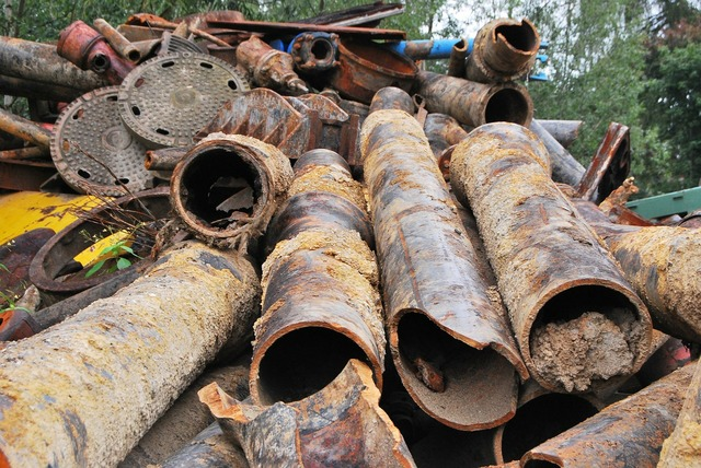 Scrap iron metal pipes, industry craft.