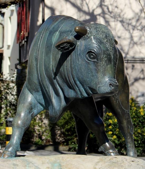 Sculpture animal figure bull.