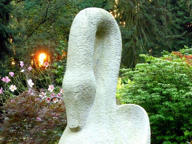 Sculpture stone figure swan.