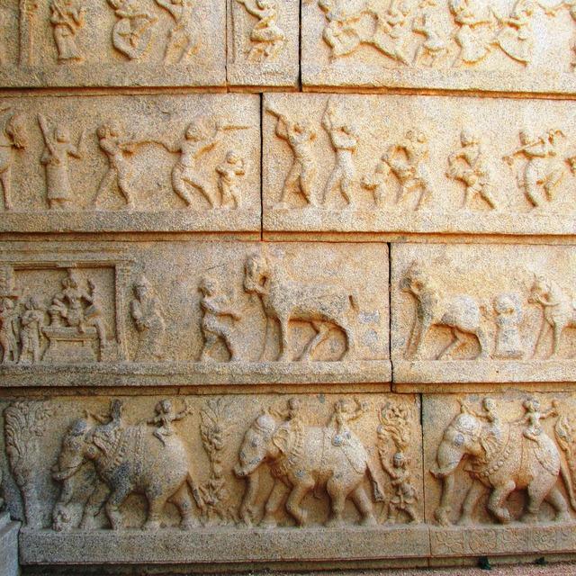 Sculptures walls temples, architecture buildings.