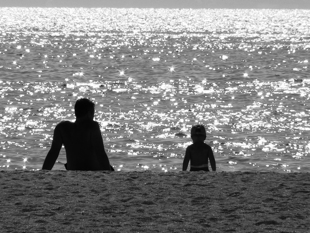 Sea beach black and white, travel vacation.