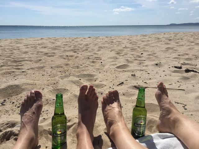 Sea beach feet, travel vacation.