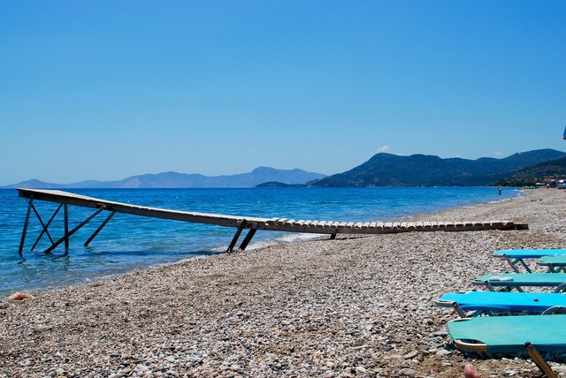 Sea beach greece, travel vacation.