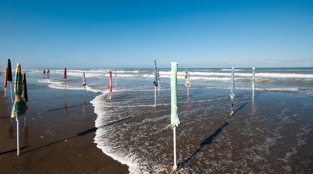 Sea beach umbrellas, travel vacation.