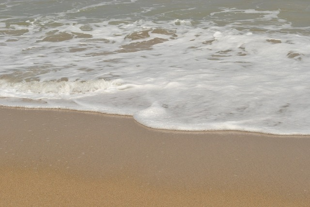 Sea beach waves, travel vacation.