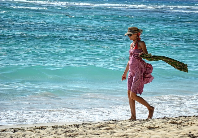 Sea beach woman, travel vacation.