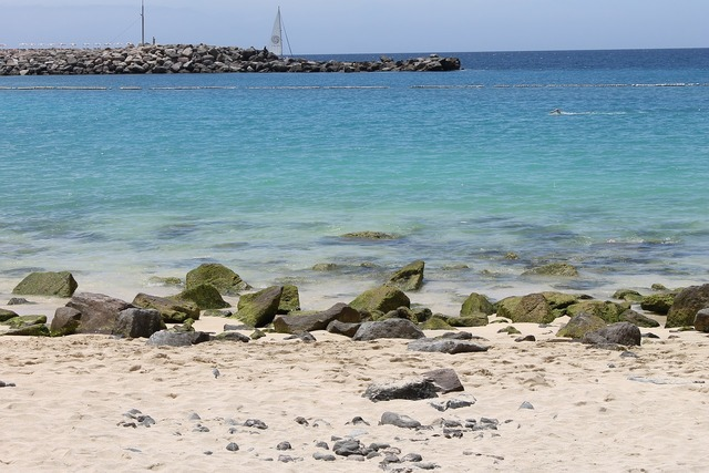 Sea booked beach, travel vacation.