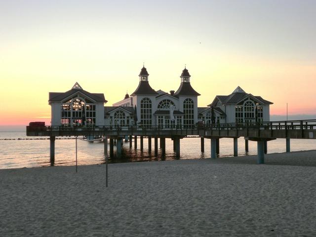 Sea bridge sunrise baltic sea, travel vacation.