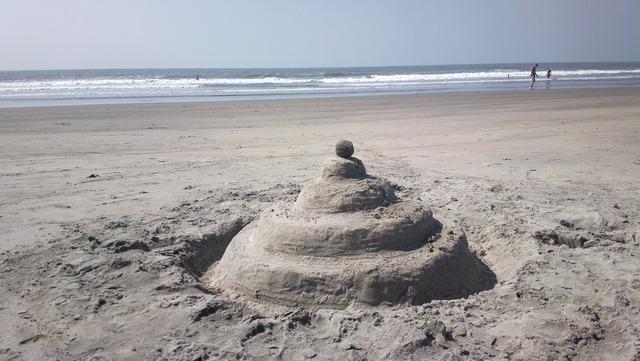 Sea sand beach, travel vacation.
