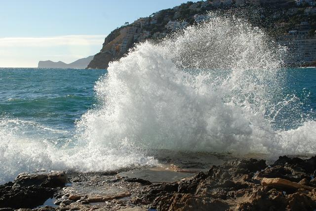 Sea spray coast, travel vacation.