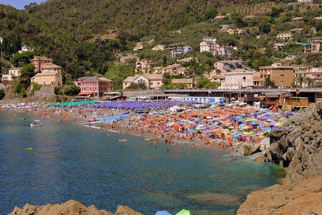 Sea umbrellas beach, travel vacation.