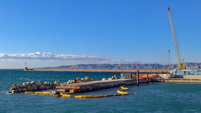 Sea wall breakwater harbor.